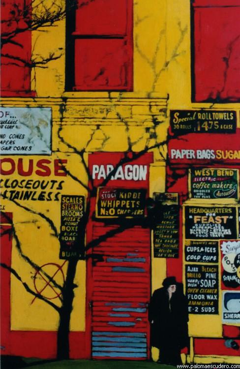 Casas rojas y amarillas. 2001 Acrílico sobre lienzo, 70 x 100 cm. Paloma Escudero