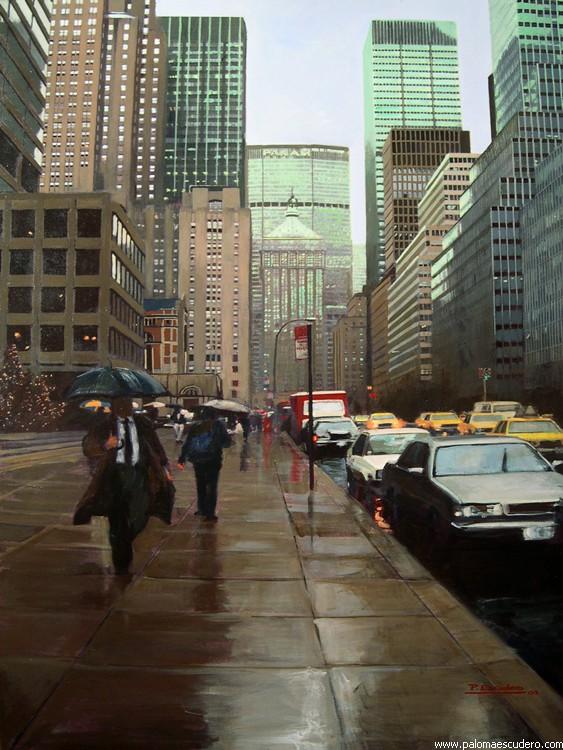 Nueva York reflejos I. 2002 Acrílico sobre lienzo, 100 x 300 cm. Paloma Escudero